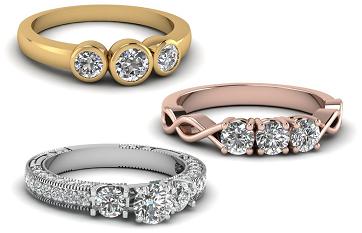 טבעות אירוסין שלושה יהלומים